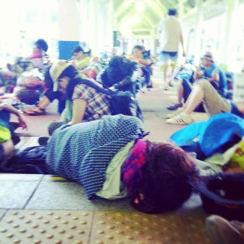 Everyone waiting and sleeping outside the only freaking station that will lead us back to #tokyo #fujirock #musicfest #japan #instagram  (Taken with Instagram)