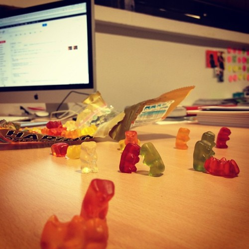 Our #dinner is alive! #gummybears #haribo (Taken with Instagram at FunBox Headquarters)