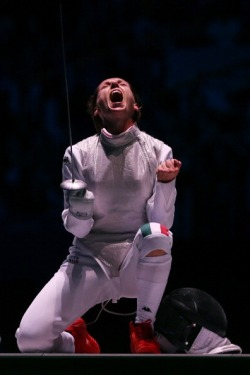 olympicmoments:  Valentina Vezzali of ITA celebrates during her Women's Foil Individual Fencing Bronze Medal Bout Photo by Hannah Johnston/Getty Images  This feeling is unexplainable, it's only understood by experiencing it for yourself.
