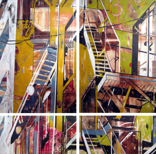 Sharon Dowell - Shift. Acrylic & ink on canvas, 96″ x 96″  [Tumblr Monday with darksilenceinsuburbia]