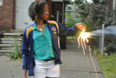 Sparklers on the 4th!  Had a lot of fun with family on this day.