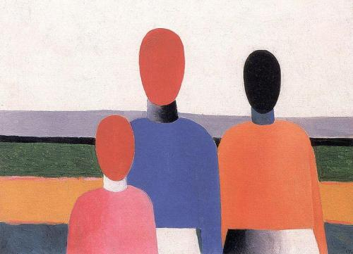 histoire-de-lart:kazimir malevich, three woman figures, oil on canvas