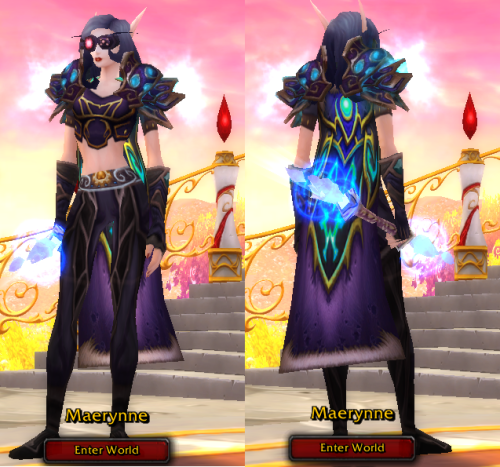 Dark purpley Techno-Mage transmog! Head: Visage Liquification Goggles Shoulders: Wrathful Gladiator's Silk Amice Back: Shadowmoon Destroyer's Drape Chest: Imbued Netherweave Tunic Gloves: Brutal Gladiator's Silk Handguards Waist: Cord of the Slain Champion Legs: Conferred Pantaloons Feet: Duke Lankrat's Velvet Slippers Staff: Ethereum Life-Staff  i love this! the cape really is stunning