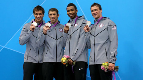 (L-R): Nathan Adrian, Michael Phelps, Cullen Jones, and Ryan Lochte pose on the podium stand after winning silver in the men's 4x100 freestyle relay at the 2012 London Olympics  nathan adrian <3