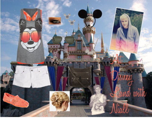 At Disney Land with Niall by imthetruedirectioner featuring a racerback tankDisney  shirt / Racerback tank / Denim shorts / TOMS flat shoes / AllSaints cross body handbag / Disney sterling silver jewelry / Disney  jewelry / Disney post earrings / Ray-Ban aviator sunglasses, $185 / Elope Disney Mickey Ears Child