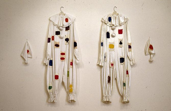 Polly Apfelbaum, Jack & Jill, 1993 Synthetic velvet, cotton sheeting, safety pins, and dye via damelio gallery