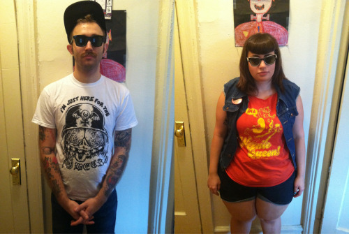 avalonmonet:  pussybow:  going to burger king in our fav tee shirts from PORK. the couple that porks together, stays together…  also making my heart melt/hurt.  LOOK AT THESE GODDAMN PORKERS. CHECK OUT BONESIE IN HIS LIMITED EDITION I'M JUST HERE FOR THE BEER T-SHIRT! LOOKAT PUSSYBOW THE WEENIE QUEEN! LOOKATDAT.