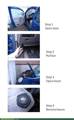 meme-depot:  How to Find Bacon in a Carhttp://meme-depot.tumblr.com