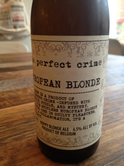 "Discovered today at the Brooklyn Larder ""The Perfect Crime"" beer. ""Infused with deception, puzzle and mystery…it's not a collaboration, it's a conspiracy."" Is it presumptuous to request a Mulholland version—nut brown ale, is my favorite."