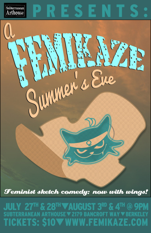 "8/3-4. A Femikaze Summer's Eve @ Subterranean Art House. 2179 Bancroft Way. Berkeley. $10. 9PM. Tickets Available: Here.   Femikaze, the Bay Area's funniest sketch troupe, keeps comedy fresh with brand new material for ""A Femikaze Summer's Eve.""  As the East Bay's premiere all-female comedy team, Femikaze brings the finest in pro-feminist, pro-funny sketch comedy, mining laughs from popular culture, politics and the quirks of being female in contemporary America.  Founded in 2011 by Kelly Anneken and Isa Hopkins, Femikaze creates opportunities in comedy for ladies of all shapes, sizes, ethnicities and orientations. After a run with ""Comedy Brains"" (Winner, ""Best Comedy Show Remix,"" East Bay Express) and San Francisco's ""A Funny Night for Comedy,"" Femikaze played to sold out audiences with their shows, ""Night of the Living Femikaze"" and ""Femikaze History Month."" The newly minted non-profit is thrilled to return to Berkeley's Subterranean Arthouse this summer. Femikaze boasts an all-star roster of Bay Area comedy favorites, including Kay-c Allen, Allie Blackwell, Therese Garcia, Erin Loftus, Kirsten Macaulay, Natasha Muse, Evangeline Reilly, Carinne Salnave, and Zoe Salnave. Sketches in A Femikaze Summer's Eve include a rare glimpse of Big Bonerd, America's favorite plus-sized girl rockers, Jane Eyre's adventures in online dating, Samuel L. Jackson's m*ther f*cking talk show, an ad for Calvin Klein's newest fragrance, and the return of audience favorite ""Fucked Up Fridays."" Each show kicks off with performances from local comedians Nina G, Colleen Watson, Chris Burns, and Lydia Popovich. Don't miss this side-splitting summertime sketch show! 4 nights only—July 27 & 28, August 3 & 4 at 9 PM, with a Femikaze Fun Bucket raffled off at every show! Tickets $10 online and at the door."