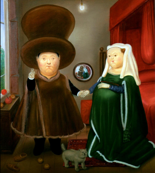 cavetocanvas:  Fernando Botero, The Arnolfini Marriage, 1978