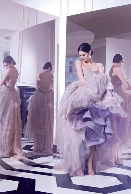 """Nude-over-purple silk-tulle draped gown with a corset bodice and full skirt, $8,500, Samuelle Couture; Gold D'Orsay sandals, $128, Ann Taylor"""