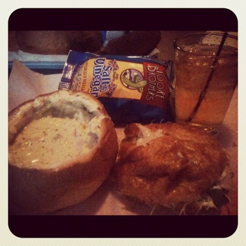 Playing hooky and eating my fave with my <3 #love #happyhour #breadbowl #munchies #rainydayschedule   (Taken with Instagram at Bison Witches Bar & Deli)