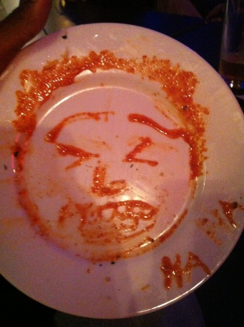 """OJ Patterson's Forced Laughter (ketchup portrait)"" by Jesse Elias"