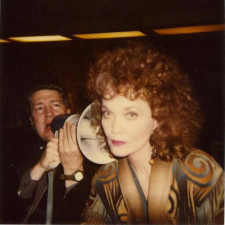 thesunsfillingyou:  Grace Zabriskie and David Lynch on the set of Twin Peaks.