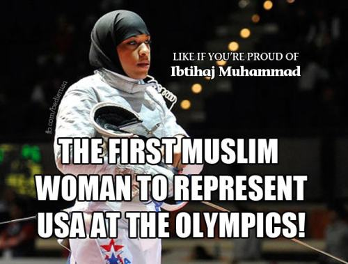thehealthywarrior:  afrocentricmiss:  ramadanrendezvous:  First Muslim woman to represent USA in the Olympics!!!! and she's amazing!!   she is so beautiful.   I'm so proud of her. SOO proud. But can we just fucking look at that statement? It's 2012 and this is our first muslim woman to represent us?! It's taken till 2012 to have that? that is bloody ridiculous. good for fucking her though. She's an inspiration.