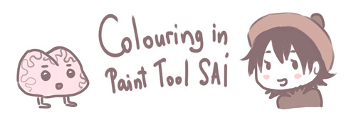petitpotato:  Today, I'd like to explain how I colour/shade in Paint Tool SAI. There are lots of different ways of using SAI but these are some of my preferred ways of colouring, which of course are anything but perfect :3 Let's take some outlines first…    … and then add some simple flat colours! To make things a little easier, you should make separate layers for each colour.    Personally, I don't like black outlines, so I always colour them. You can do this easily by setting your layer on Preserve Opacity and then taking any big soft brush and painting over your outlines in any colour you like. You'll see that the outlines will change colour.       Now the picture has a much softer look. I like that! Next step is adding some gradient. First, you'll need to set all your layers on Preserve Opacity, so you will only draw over the particular colour. Then, you take the Airbrush tool, make it really big and simply draw over each layer in a slightly darker colour.     Sometimes, when I'm feeling particularly lazy, I leave the picture as that. When you're going for something really simple, this will do. When I feel a little less lazy, I use following method to add shadows:    Make a layer above all flat colour layers and put it on multiply. Then, use the Pen (or Marker) and draw shadows all over your picture. You can also use WaterColour to smudge some hard edges. When you're done adding the shadows, once again select Preserve Opacity and draw all over it with a big Airbrush. Like this, the shadows get coloured too.     This is a very simple way to add shadows and it's very quick too! When I don't feel so lazy, I use a slightly different way of adding shadows:    This is the brush I like to use most :D It's a Marker. On the left, you can see it's settings. This time, you draw on the separate colour layers (Don't forget Preserve Opacity!).  This usually takes some time, because you need to pick colours and draw more carefully then in the method shown above. It feels much more like actual painting, though.    When I feel like making a real effort, I colour everything on just one layer. All flat colours on one layer plus all the shades on the same layer. Just like you would paint it on paper with an actual brush. However, you have to work with great precision, so it takes a lot of time. Even though I don't have time to do this often, that's my favourite way of colouring since it has the most natural feeling to it. (I'd like to show this in another tutorial :D) And finally, add some random background :D    I also set the Outlines layer on multiply, which I forgot to do earlier. But it's not necessary. I just like it better that way.    And finally, here's the finished picture! Of course, there are unlimited options how to colour in SAI. It's a great program and it's fun to experiment with the settings. There's so much to explore! Therefore, I like to use different colouring styles, depending on what fits a picture best. The ways shown above are my favourite, because the first one is quick and the second one has a fancy brush for painting :D Hopefully, I haven't forgotten anything important >_< Feel free to point out whatever you think might be missing! Thank you for reading!