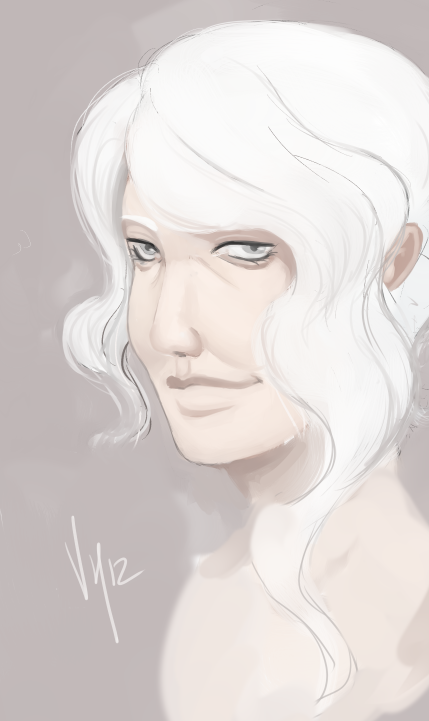 So I tried to paint an older woman.  Tried.