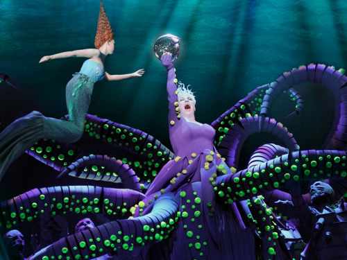 "sweeneytad:  mrlovett:  beyondthegoblincity:  Disney's The Little Mermaid, Netherlands production  THIS IS HOW THIS SHOW SHOULD HAVE FUCKING BEEN DONE NOT WITH BODY GLITTER AND WHEELIES.  I always love imagining the day they come up with the wheelies idea. A dark conference room filled with smoke. Papers are scattered everywhere. Men sob in the background. Suddenly, a lone voice of reason ring out through the air, ""Wheelies""  Now THAT is a Goddamn Ursula costume!!!"
