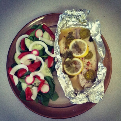 Baked tilapia in foil and salad (Taken with Instagram)