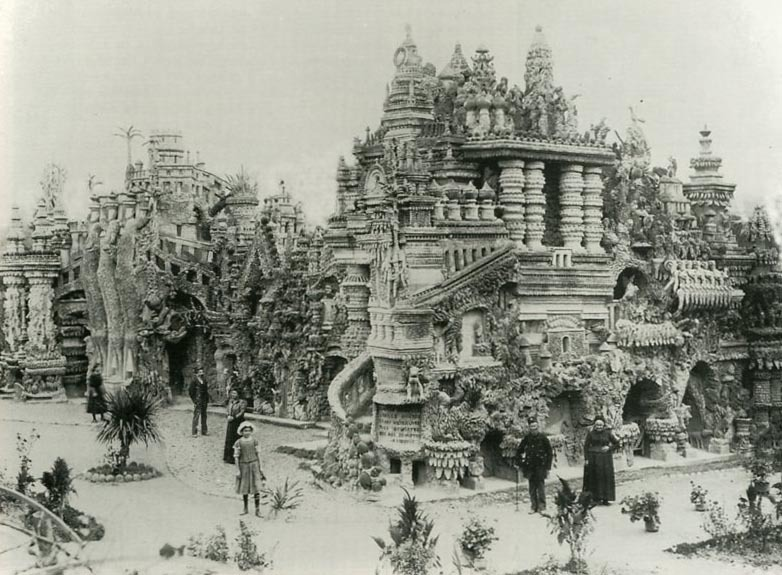"Ferdinand Cheval (born 1836 in Charmes-sur-l'Herbasse, Drôme, France; died 19 August 1924) was a French postman who spent thirty-three years of his life building Le Palais idéal (the ""Ideal Palace"") in Hauterives. The Palace is regarded as an extraordinary example of naïve art architecture.  Cheval began the building in April 1879. He claimed that he had tripped on a stone and was inspired by its shape. He returned to the same spot the next day and started collecting stones. For the next thirty-three years, Cheval picked up stones during his daily mail round and carried them home to build the Palais idéal. He spent the first twenty years building the outer walls. At first, he carried the stones in his pockets, then switched to a basket. Eventually, he used a wheelbarrow. He often worked at night, by the light of an oil lamp. The Palais is a mix of different styles with inspirations from Christianity to Hinduism. Cheval bound the stones together with lime, mortar and cement. More Images and the unusual shaped stone Cheval tripped over that provided the starting point for the Palais."