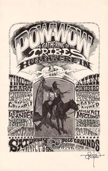 Concert poster for The Human Be-In (event in 1967). Performers included Timothy Leary, Allen Ginsberg, The Grateful Dead, Big Brother and the Holding Company, Country Joe and the Fish, Quicksilver Messenger Service and others.