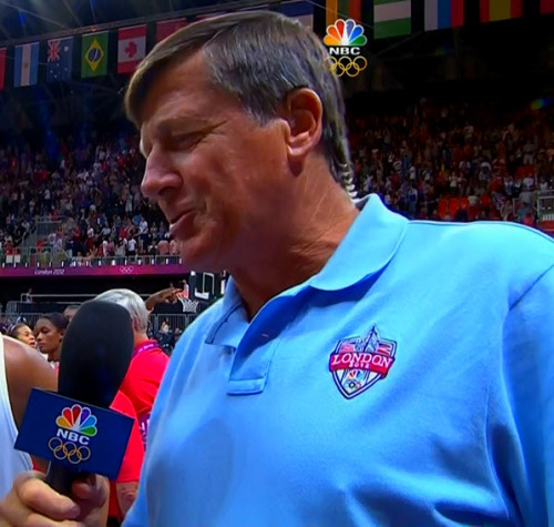 "This is why I won't be ""covering"" Craig Sager's suits during the Olympics. No suits. I think he has to wear this polo shirt uniform. :( Can you just imagine the fun he could have had if he'd been able to wear an entire suit made out of the American flag? Lost opportunity! Oh the humanity."
