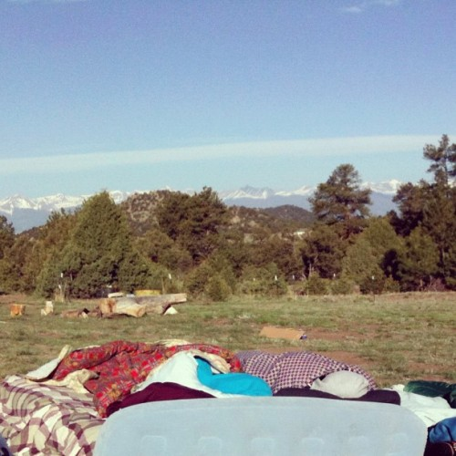 Found this of my friends and I sleeping outside underneath the Colorado sky and beautiful mountains.  (Taken with Instagram)