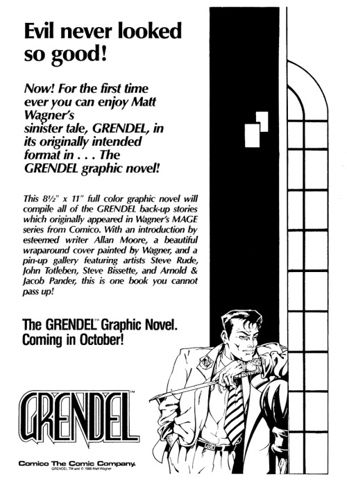 Promotional ad for Grendel: Devil by the Deed by Matt Wagner and Rich Rankin, featuring art by Arnold & Jacob Pander, 1986.