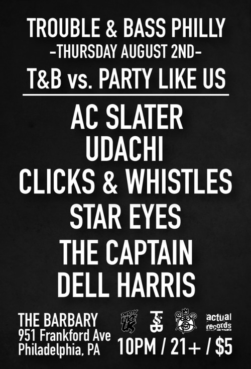 T&B vs. Party Like Us - Philly this Thursday at The Barbary