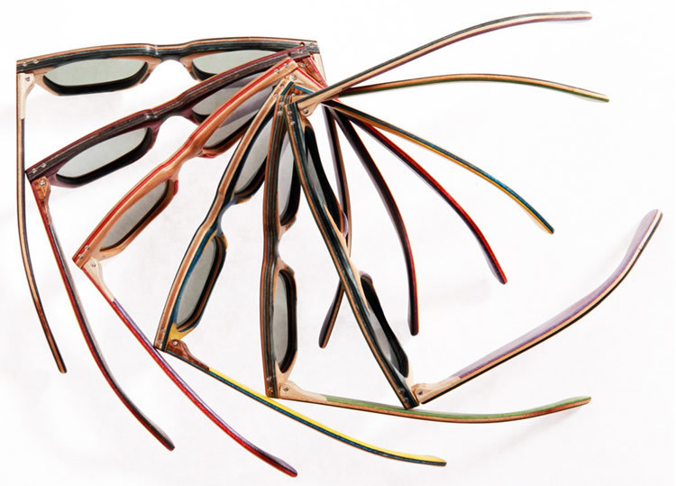 Very cool!  Designers Baptiste and Gianni Vuerich hand makes sunglasses from recycled skateboards!