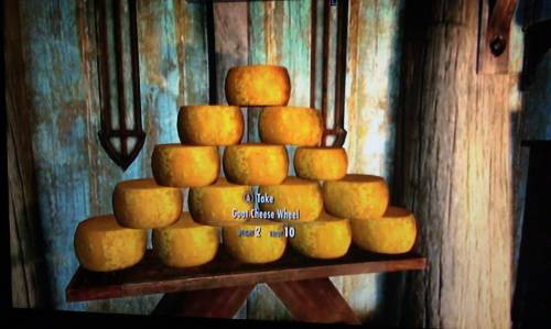 My first month of playing Skyrim, all I did was build cheese pyramids all over Breezehome (aka Cheesehome)