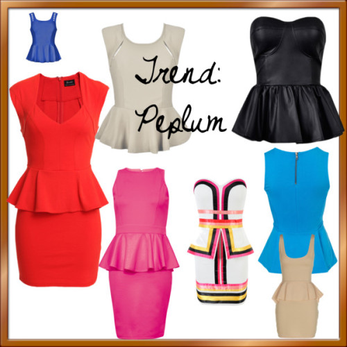 Trend: Peplum by kassia-agostinho featuring coral dressesStrapless peplum dress, $205 / Bardot cap sleeve dress, $105 / Rare London fitted dress, $13 / Coral dress, $24 / Sleeveless top / Cut out top / Shoulder cut out top / METALLIC PU PEPLUM BUSTIER