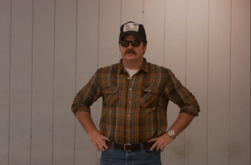 Ron's incognito look of course includes plaid. Probably 80% of the Pawnee bowling alley patrons are wearing it.