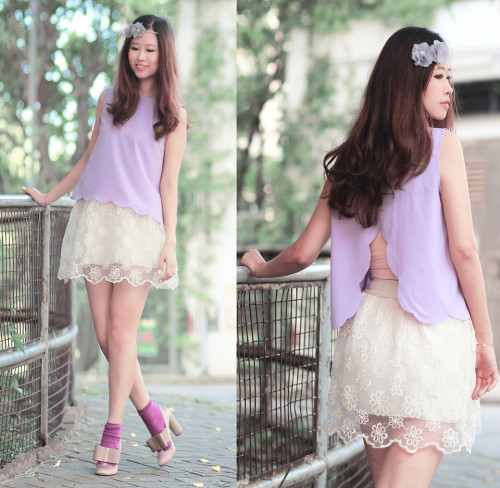 Stuinning Lavender top and lace skirt!Periwrinkle (by Mayo Wo)