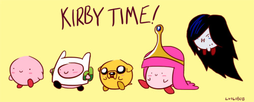 insanelygaming:  Adventure Time Kirbies  Created by XLuIgIbObX