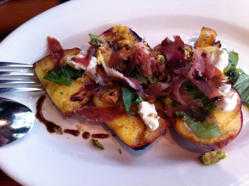 portlandings:  Best appetizer I've had in a while: grilled peaches, prosciutto, goat cheese, basil and pistachios - the other day for lunch at Wildwood in NW Portland.   Looks super tasty