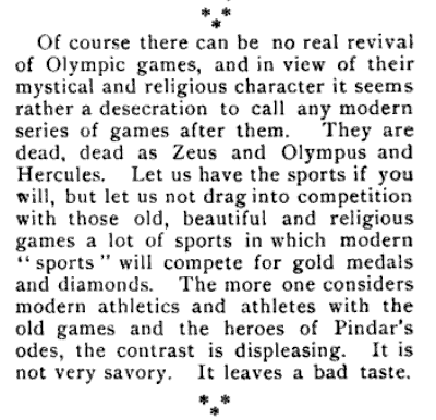 yeoldenews:  Olympic controversy, 1895 edition. (source: The American University Magazine, 1895.)