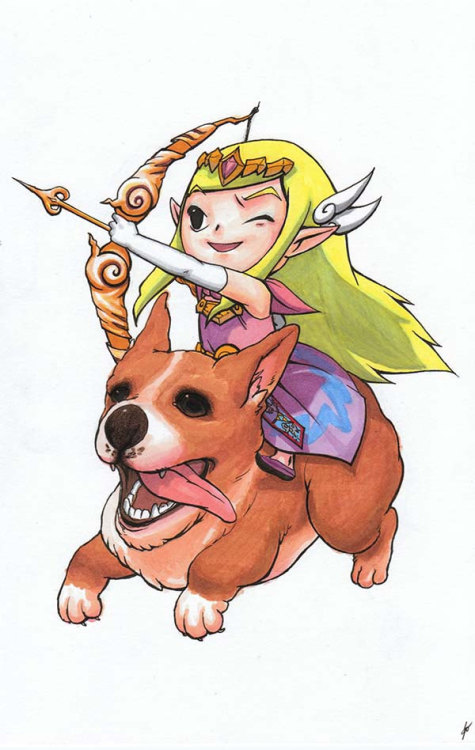 hamzrock:  Zelda on a Corgi by Juliana Ouyang http://www.etsy.com/listing/105572690/zelda-on-a-corgi?ref=v1_other_1  Ummm… Zelda. On a corgi. Life doesn't get much better than this!