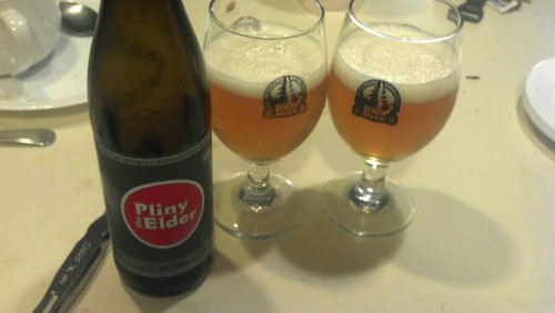Pliny bottled 7.02.12, what what! I think I enjoy beer more when I can pair the glassware correctly.  A large thank you to domtronzero on ba!