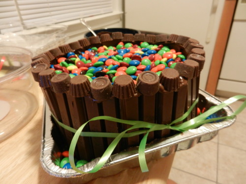 Pound Cake iced with Nutella surrounded by Kit-Kats topped with M&Ms, mini Reese's, & mini Rolos  :) a bit pricey for how many servings it is but it is pretty epic   XD good thing I remembered to make it last minute for tomorrow's pot-luck