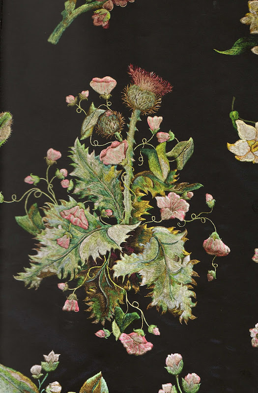disgustinghuman:  muirgilsdream:  Embroidery by Mary Delaney. Thistle. The pieces pictured here are thought to have been parts of a court gown.  This is lovely. I've grown such a fondness for thistles since I've let my slave start whipping himself with them.  If only I had the patience for such beautiful work.