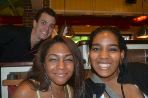this guy photobombed us at chili's. perfect. OH GOD NO I LOOK LIKE A POTATO THOUGH.