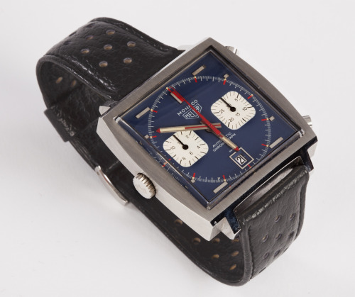"This Monaco was actually worn by Steve McQueen, in the production of the movie Le Mans (1970), and is being sold in an auction of Hollywood memorabilia, this coming Tuesday, July 31st. Read more about this Monaco in this blog posting.  With or without the McQueen provenance, it is an amazing example of a ""time capsule"" Heuer Monaco."