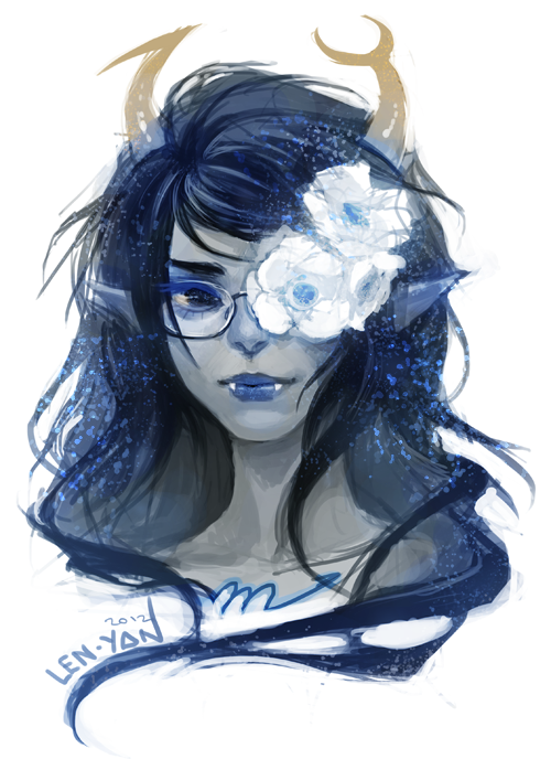 len-yan:  someone suggested more vriska i figured, why not~ the flowers are supposed to be anemones (not that you can tell hehe) which, according to a couple of online sources, are among plants associated with scorpio^^
