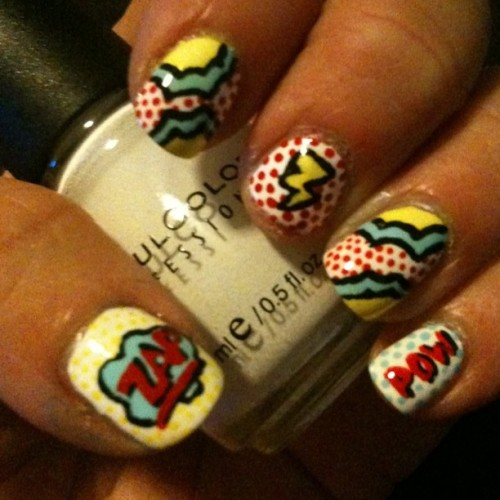 I saw a tutorial for this yesterday but I can't find the nail artist who did it at the moment. If anyone has the name of the person, please comment below so i can properly source this art! Comic book nails!!! #nailart #nails #comicbook #comicbookart #lichtenstein #art #nailvarnish #nailaddict #cosmetics (Taken with Instagram)