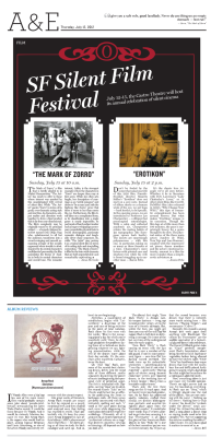Daily Cal Arts & Entertainment feature for July 12, 2012 'SF Silent Film Festival' Layout Design: Chris Chau/Staff