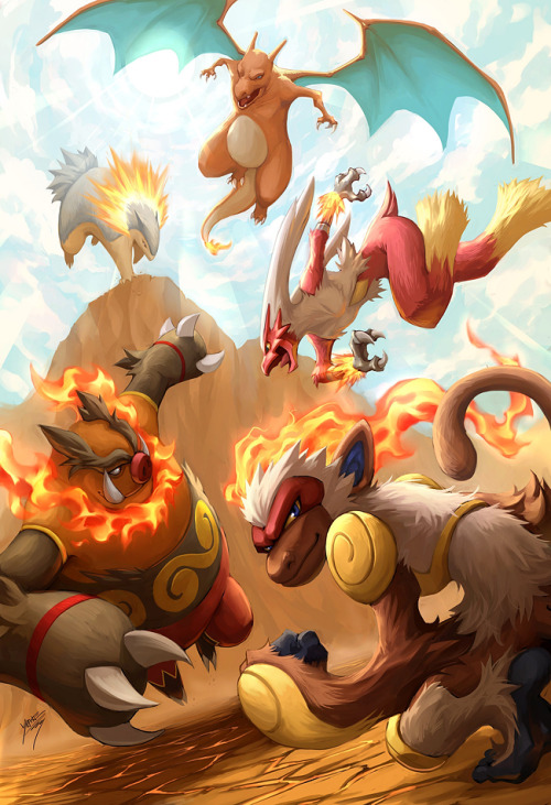 Epic illustration of all the fire starter final evolutions.