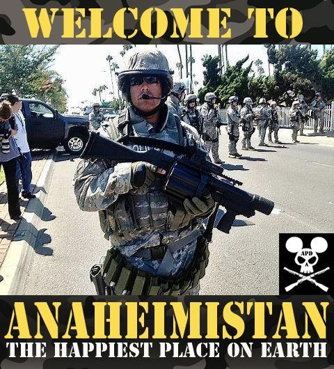 "Welcome to Anaheimistan. #anaheim #apd #disney  Google ""anaheim police protests"" for more information."