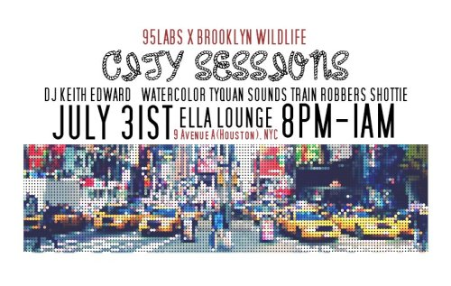 FREE EVENT 95Labs x Brooklyn Wildlife: City Sessions 95Labs and Brooklyn Wildlife cordially invite you to enjoy a sensational night of art, live music, Djs and some drink specials at Ella Lounge NYC July 31st 8pm - 1am This will be out first Manhattan takeover party, so let's make it a banger. Dj Keith Edward will be spinning opening and closing sets, we will be presenting some nude photo work from the FLESH series (by Eat the Cake NYC), and there will be projector art, Performers: Dj Keith Edward Watercolor Tyquan Sounds Train Robbers Shottie and surprise special guests.. THIS WILL BE AN EARLY SHOW… ARRIVE at 8pm for drink Specials. RSVP: bkwildilfe@gmail.comhttp://addictedtofresh.tumblr.com/post/27888447239
